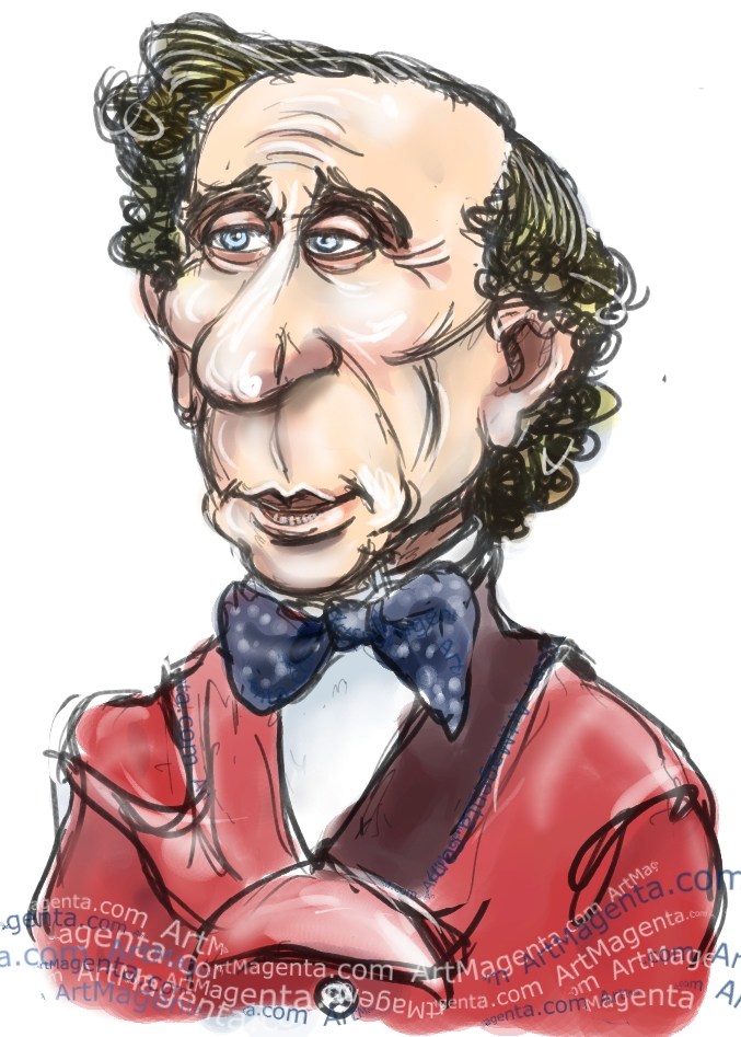 H.C. Andersen caricature cartoon. Portrait drawing by caricaturist Artmagenta