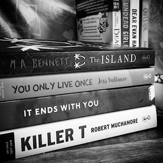 ARC August TBR featuring The Island by MA Bennett, You Only Love Once by Jess Vallance, It Ends With You by SK Wright, Killer T by Robert Muchamore