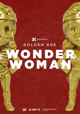 "New York Comic Con 2018 Exclusive Golden Age Wonder Woman Gold Edition XXRAY 10"" Vinyl Figure by Jason Freeny x Mighty Jaxx x FYE"