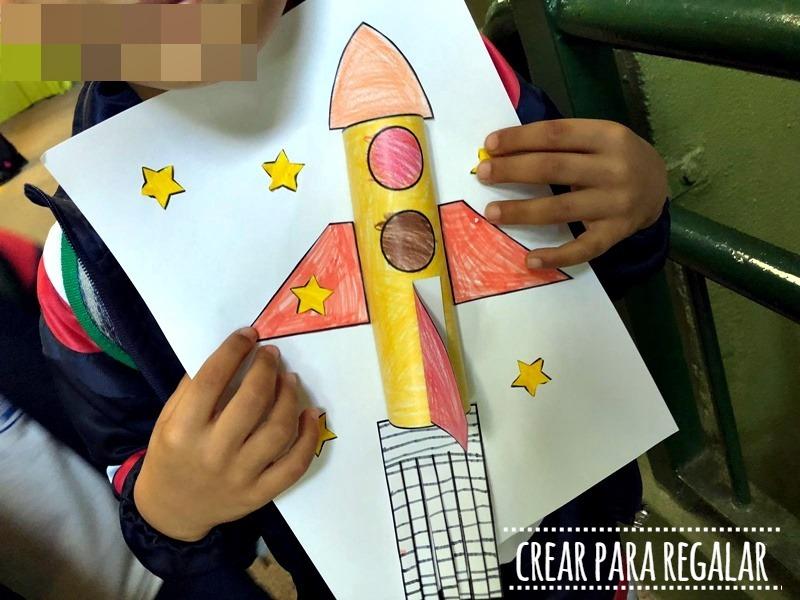 manualidades para niños cohete plantilla para descargar
