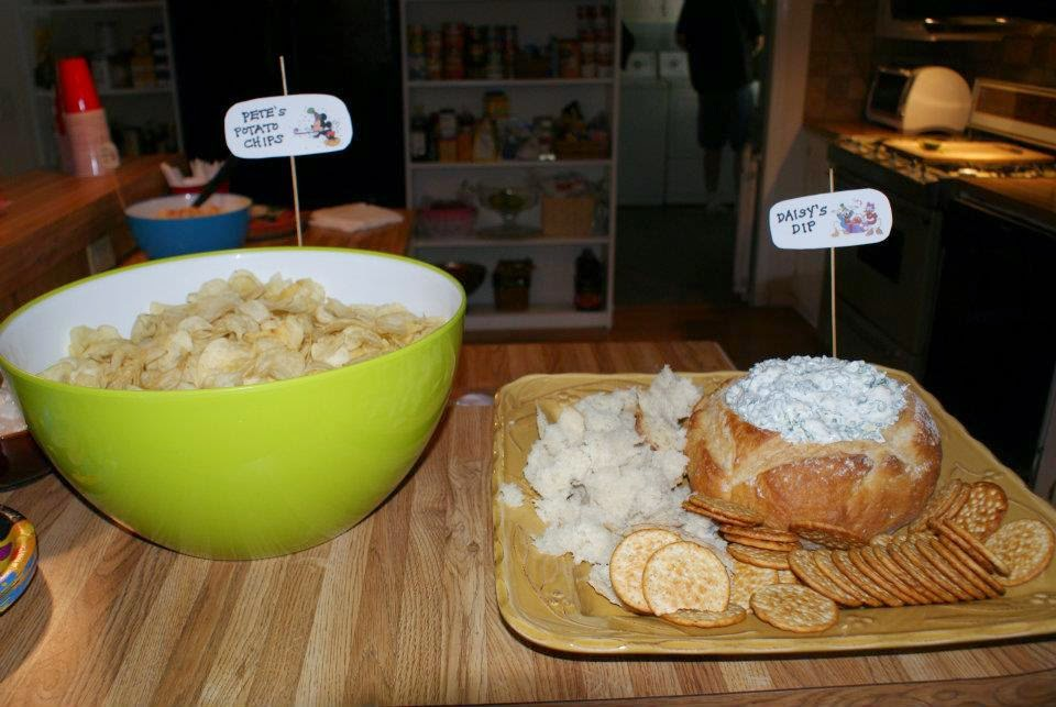 Pete's Potato Chips and Daisy's Dip for a Mickey Mouse themed birthday party!