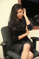 Mounika in a velvet short black dress for Tick Tack Movie Press Meet March 2017 009.JPG