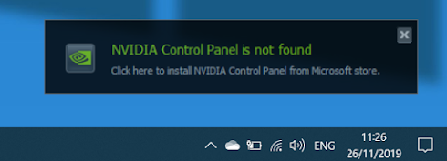 Fix issue the NVIDIA Control Panel not showing