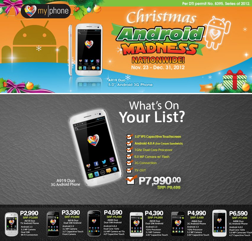 MyPhone Christmas Android Madness Nationwide Sale