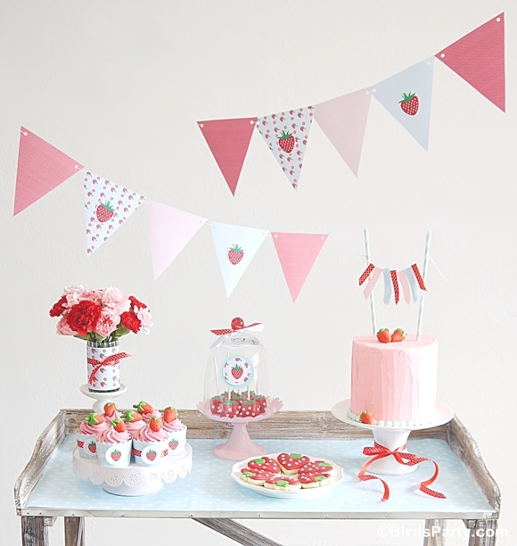 Summer party ideas strawberry desserts table party ideas party printables - Strawberry themed kitchen decor ...