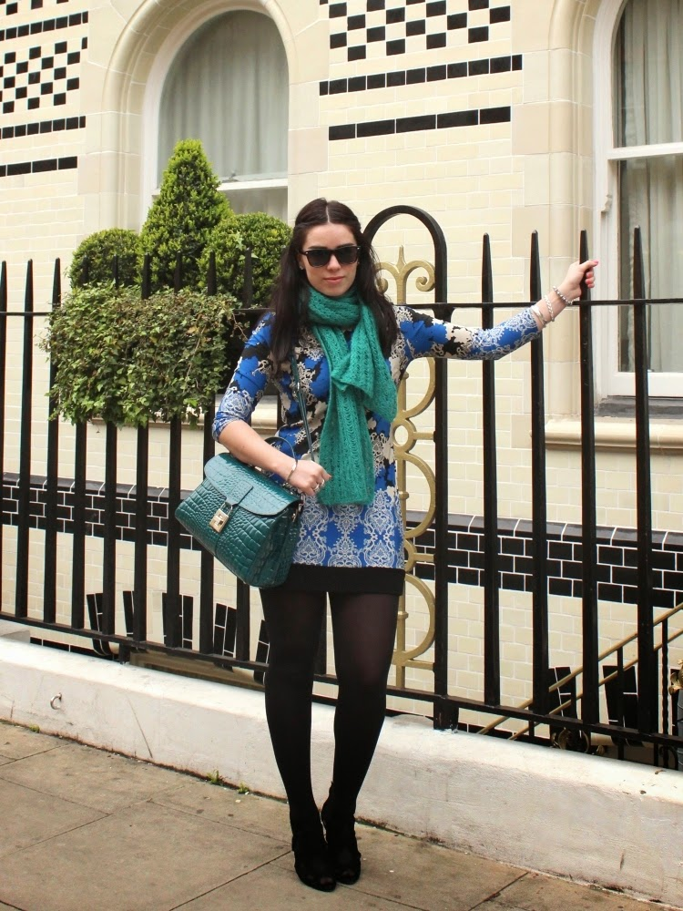 Emma Louise Layla fashion blogger wearing blue print Primark dress outside the Langham Hotel, London