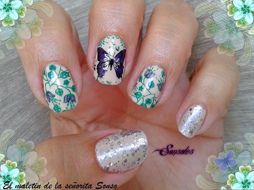 El maletin de la señorita Sonso: Manicura Crema con Flores y ...