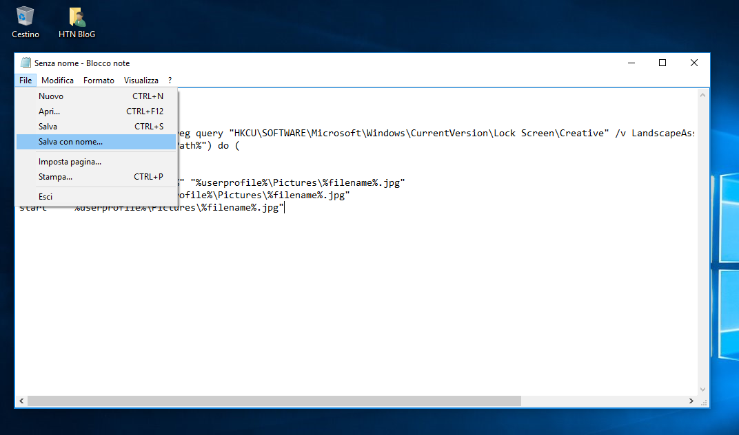 Come salvare con un click l'immagine Spotlight della Schermata di blocco in Windows 10 2