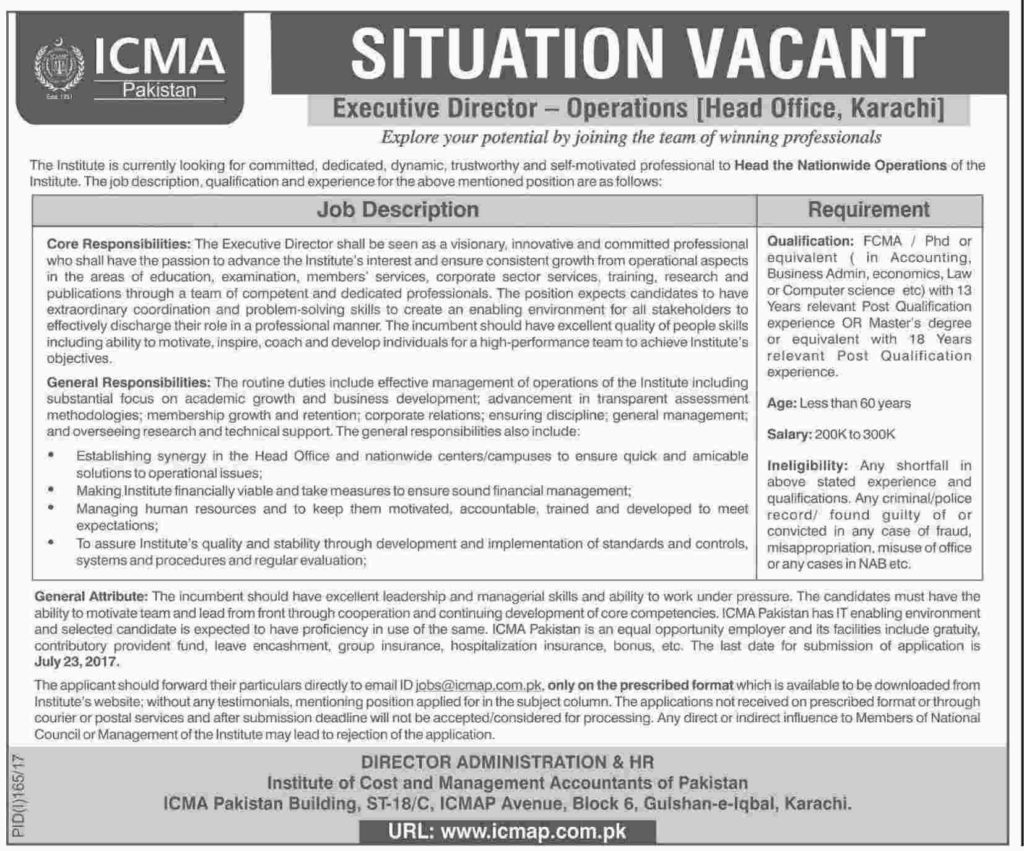 Jobs In ICMA Pakistan Karachi July 2017