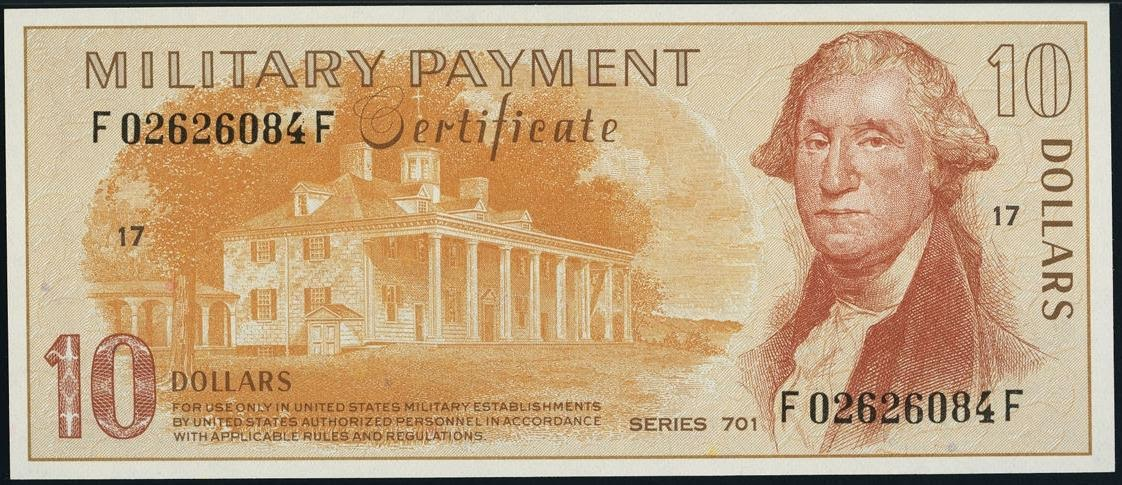 10 Dollars Military Payment Certificate, MPC Series 701 George Washington's Mount Vernon