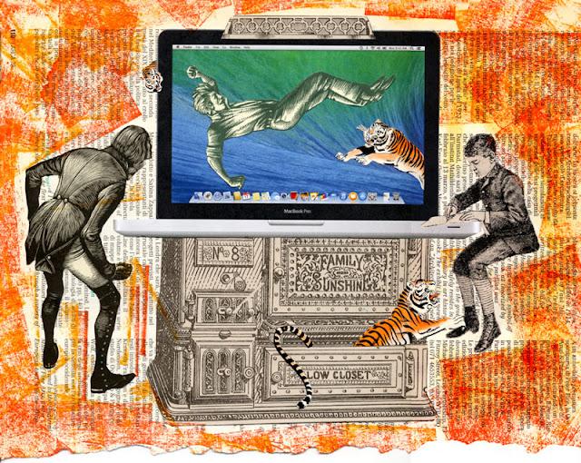 Hand cut paper collage, Los Dias Contados, August