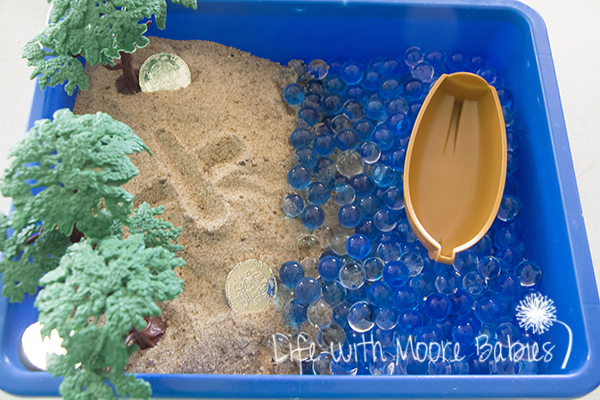 x marks the spot in the pirate sensory bin