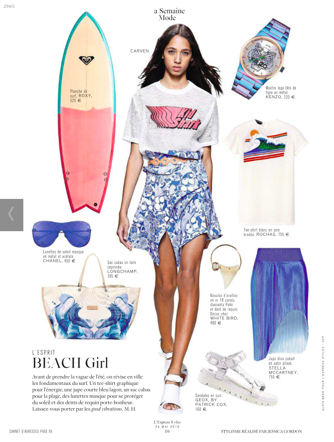 PR Quiksilver Inc.  Roxy surfboard is highlighted in the french magazine c1eb380264ce