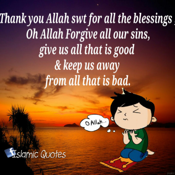 Thank you Allah for all the blessings - Quotes