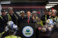 Environmental Protection Agency Administrator Scott Pruitt speaks with coal miners in Sycamore, Pa., in April. (Credit: Justin Merriman/Getty Images) Click to Enlarge.