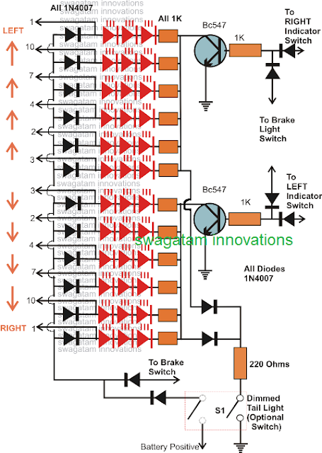 LED series parallel connection details for the car tail light