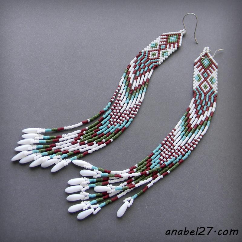 купить очень длинные бисерные серьги с бахромой
