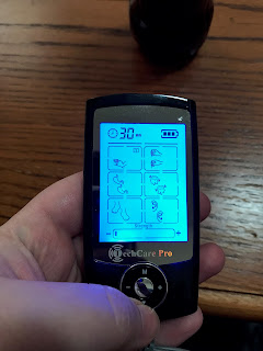Tens Unit screen lit up blue