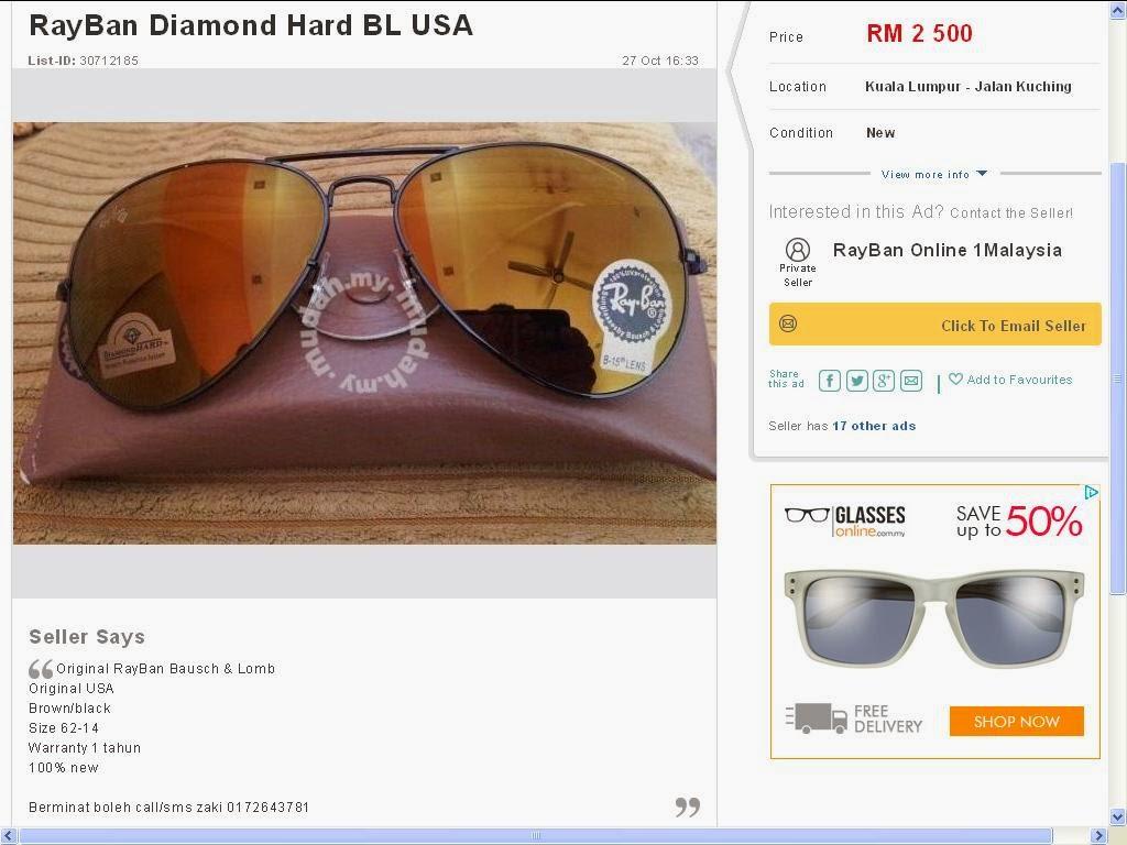 cce94cecf3e Disini saya share lagi gambar rayban diamond hard tiruan yang dijual dalam  MUDAH.my dengan harga sama rayban original usa.