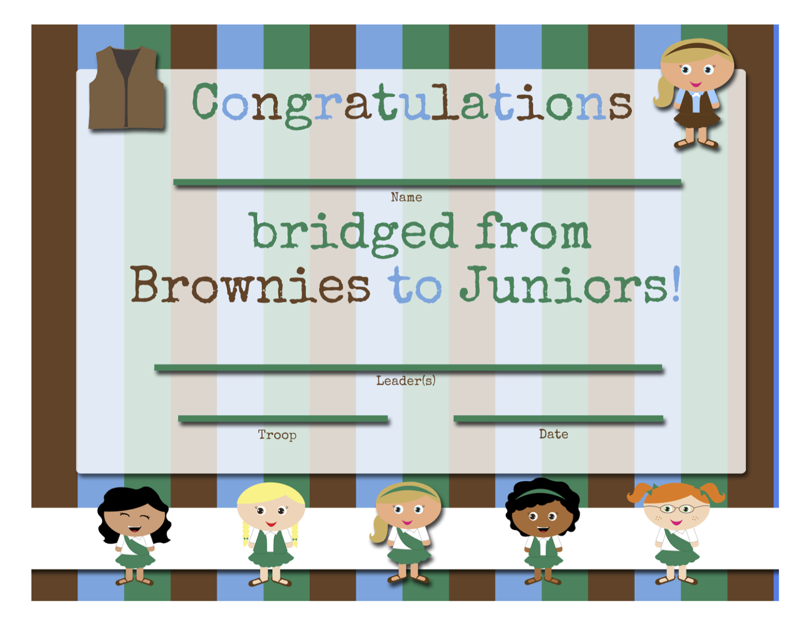 My Fashionable Designs Girl Scouts Free Printable Bridging
