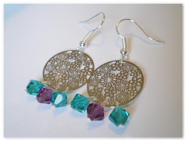 boucles d'oreilles argentées turquoise et violet