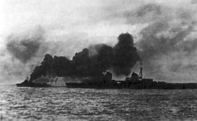 Soviet light cruiser Kirov on fire, 28 August 1941 worldwartwo.filminspector.com