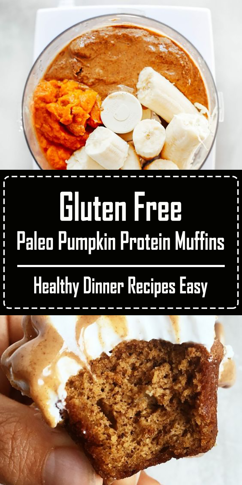 Gluten Free Paleo Pumpkin Protein Muffins - 5 Minute, 71 calorie paleo pumpkin spice protein muffins. Flourless pumpkin banana muffins make for easy meal prep- perfect for cozy fall breakfasts or post workout fuel! Naturally sweetened, with added health benefits and protein from collagen peptides. #paleo #pumpkinspice #baking