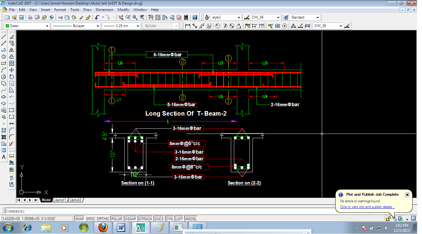 Learning to Auto CAD : Details of Beam