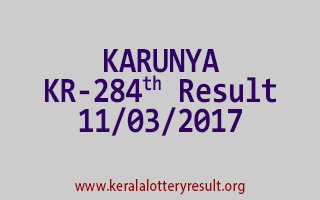KARUNYA Lottery KR 284 Results 11-3-2017