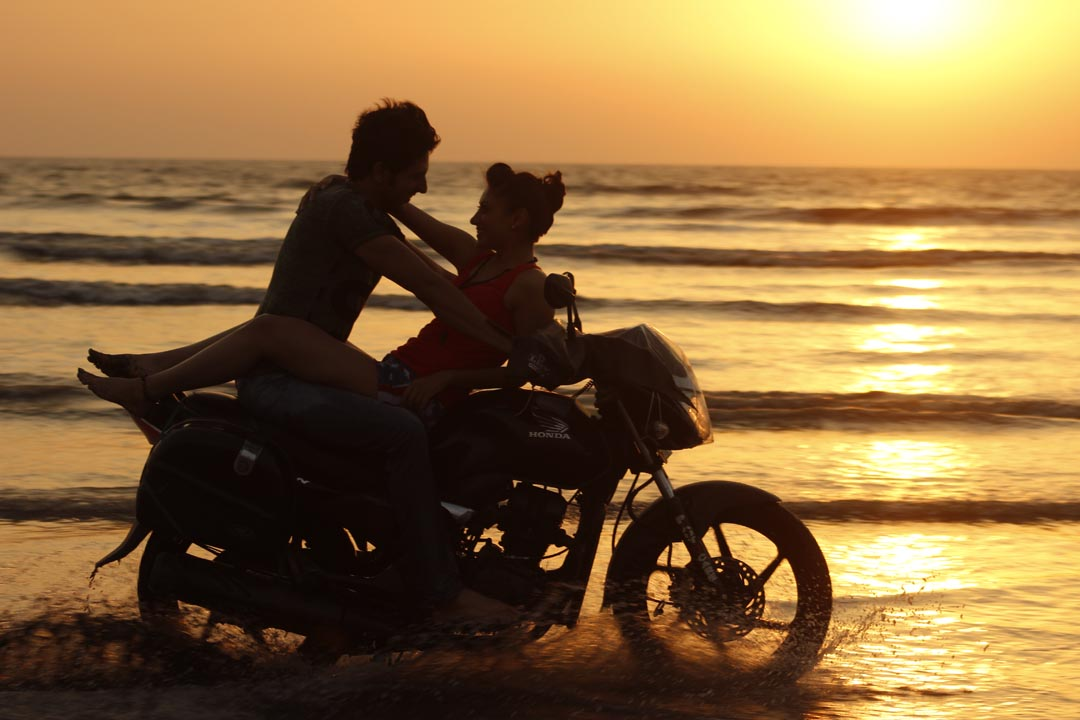Rishi Bhutani with Gurleen Chopra film Ashley on bike scene