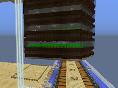 Een farm (wortelboerderij) in het spel Minecraft met meerdere verdiepingen.