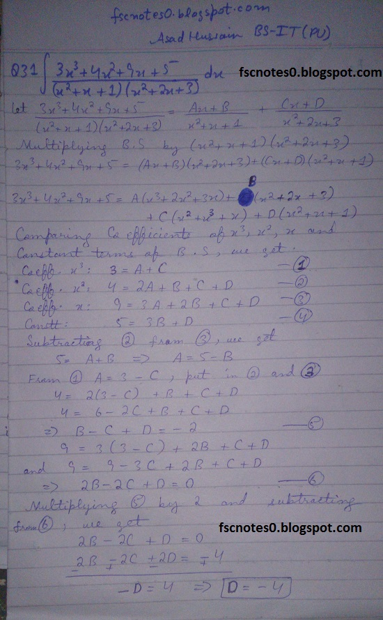 FSc ICS Notes Math Part 2 Chapter 3 Integration Exercise 3.5 question 23 - 31 by Asad Hussain 12