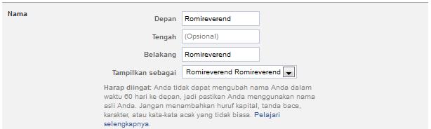 Trik Ganti Nama Facebook Yang Sudah Limit 2014