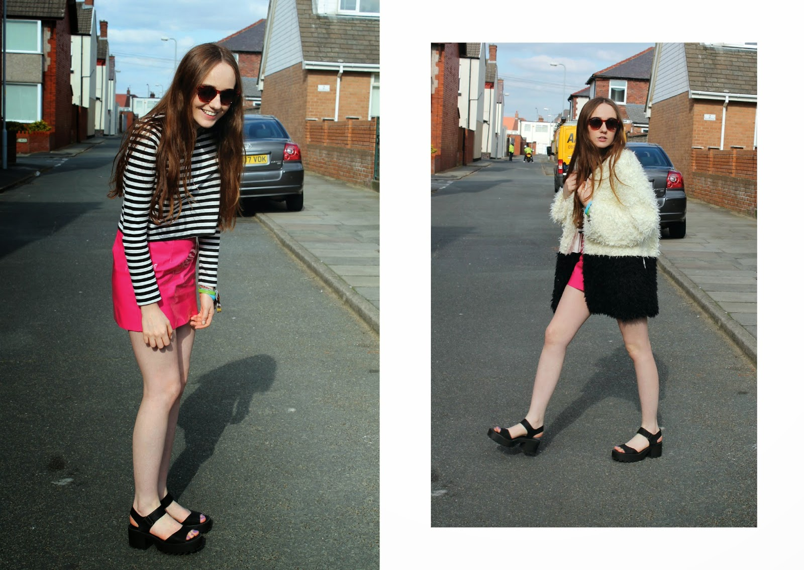 pink pvc mini skirt, daisy street skirt, pvc a line skirt, stripey crop top, primark sunglasses, chunky cleated sole sandals, minkpink fashion fluffy coat, minkpink fur coat