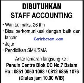 Lowongan Kerja Staff Accounting Penuin Centre