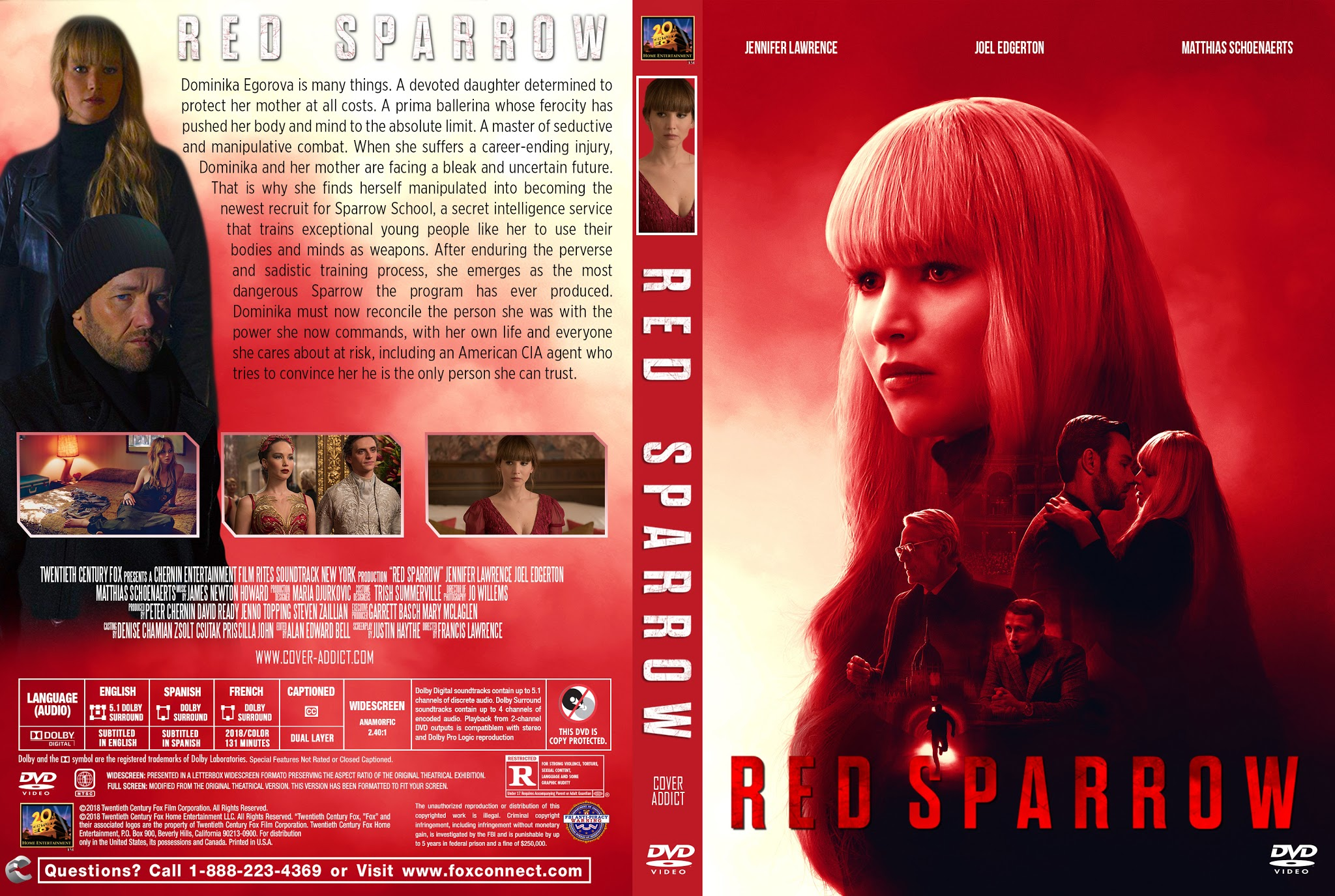 Red Sparrow DVD Cover   Cover Addict - Free DVD, Bluray Covers and Movie  Posters