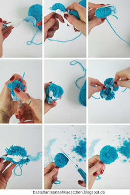 Collage Pompoms (Bommel) mit PomPomMaker selber machen