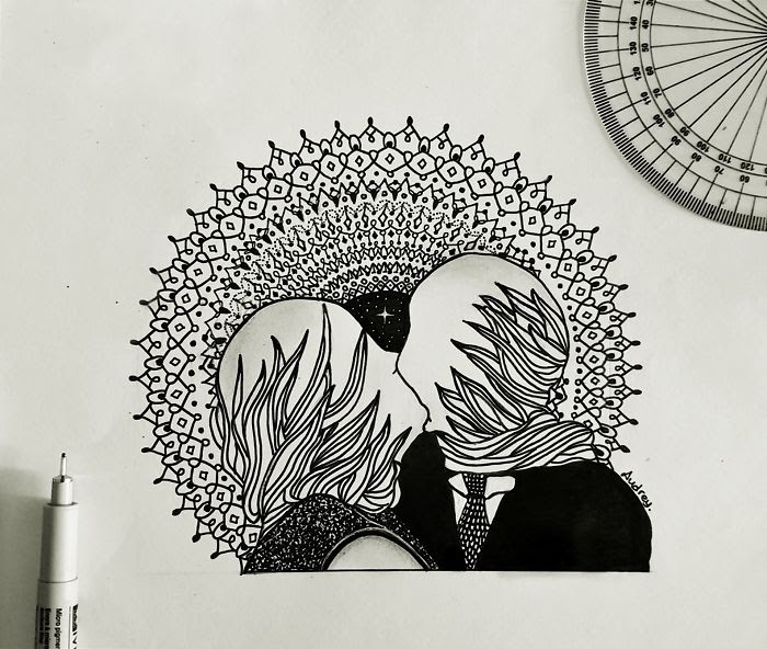 09-The-Lovers-by-René-Magritte-Poonam-Saha-Zentangle-Old-Masters-and-Works-of-Art-Drawings-www-designstack-co