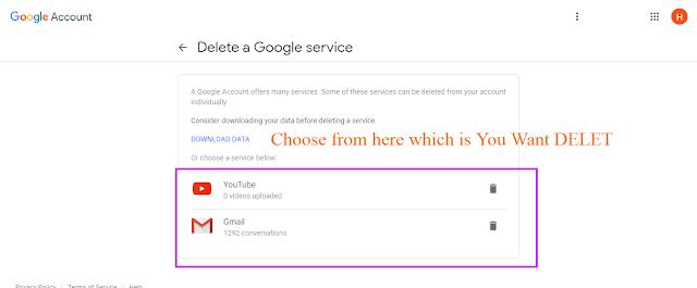Google Gmail account delete service