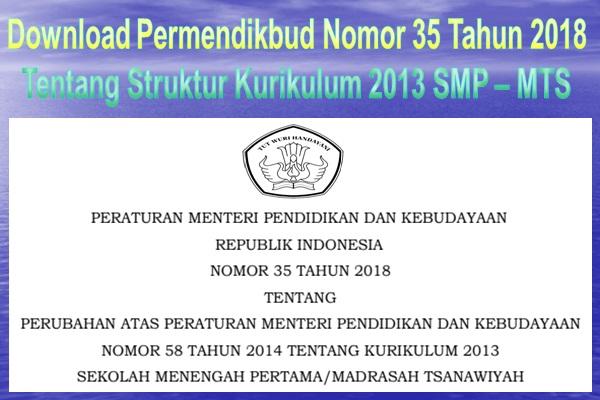 Download Permendikbud Nomor  Tentang Struktur Kurikulum  Smp Mts