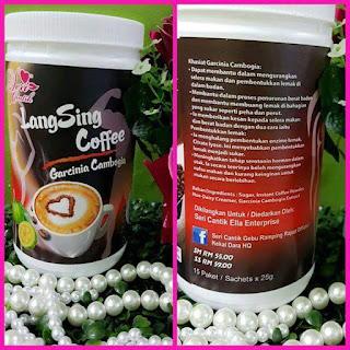 kopi langsing  15 sachet x25 g  ➡Dapat membantu dalam mengurangkan selera makan dan pembentukan lemak di dalam badan ➡Membantu dalam proses penurunan berat badan & membantu membuang lemak di bahagian yang sukar seperti peha & perut .➖.➖ Ramuan khas langsing coffee  Sugar, Instant Coffee Powders, Non-dairy creamer dan garcinia cambogia.  ianya menghalang pembentukan enzime lemak. Kandungan citrate lyase yg terdapat dlm coffee ini menyebabkan kesukaran kepada pembentukan lemak di dalam badan.  Selain itu juga boleh mengurangkan nafsu makan dan kurang keinginan untuk makan secara berlebihan