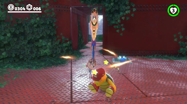 Super Mario Odyssey capturing Fire Bro stretched
