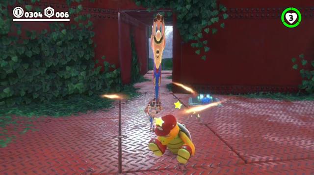 Super Mario Odyssey capturing Fire Bro stretched
