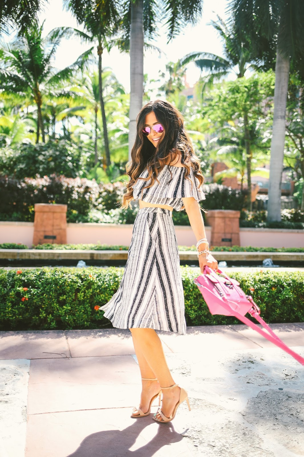 pink ray ban aviators, fuchsia ray ban aviators, ASTR two piece set, striped skirt and crop top outfit, pink phillip lim mini, fushica phillip lim mini, atlantis bahamas, emily gemma blog, the sweetest thing, phillip lim pashli mini