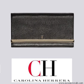 Queen Letizia carried Carolina Herrera Black Clutch