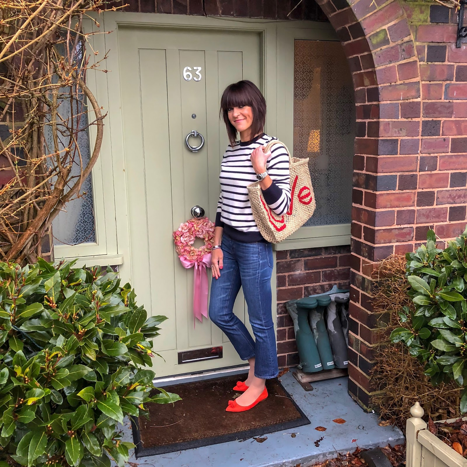 my midlife fashion, marks and spencer pure cashmere crew neck stripe jumper, the jacksons love jute shopper, j crew billie demi crop flare jeans, j crew tassel pointed flats