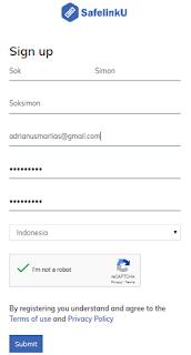 Mengisi form daftar Safelinku