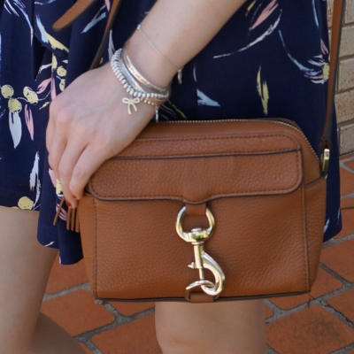 Rebecca Minkoff MAB Camera Bag in almond with navy printed culottes | awayfromtheblue