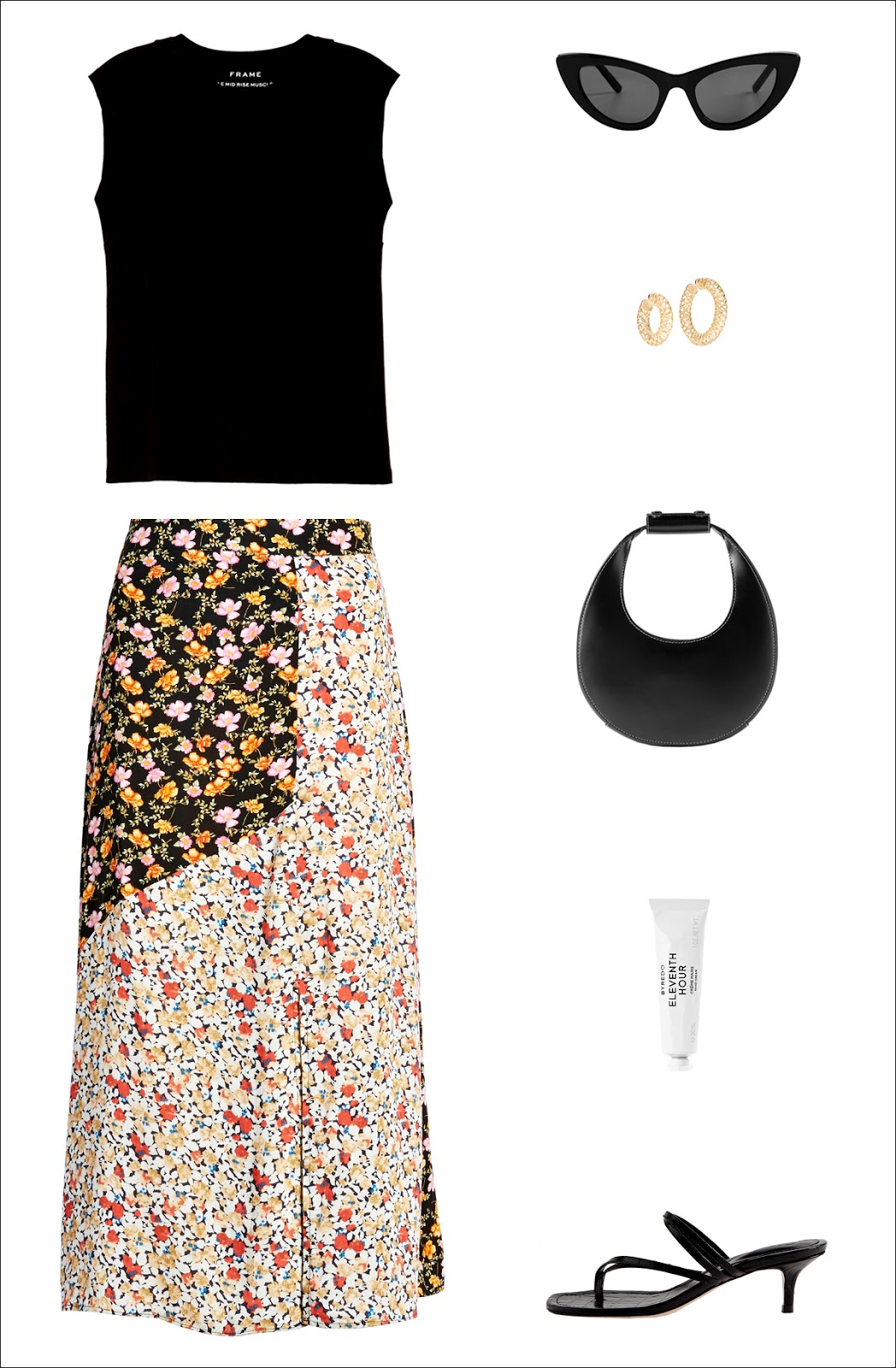 Summer Outfit Idea: black muscle tank top, black cat-eye sunglasses, cool hoop earrings, a black mini bag, under-$50 floral print skirt and sleek black kitten heel sandals.