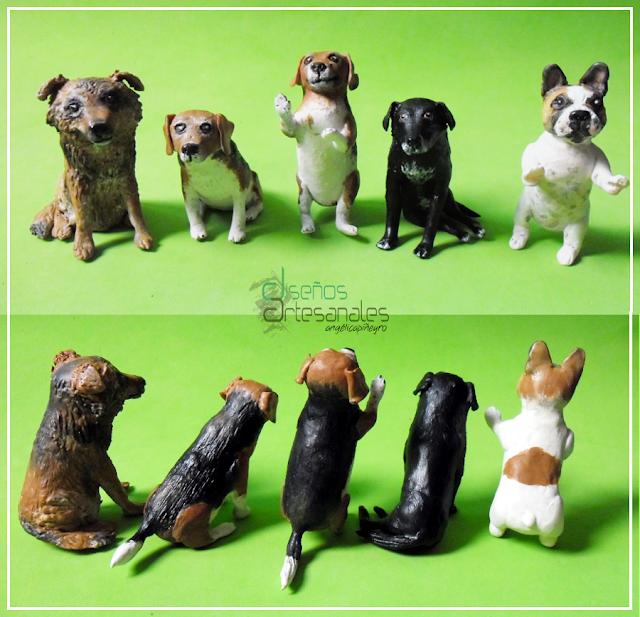 Perritos modelados en Porcelana fría para centro de torta